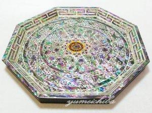 韓国八角更紗螺鈿お盆